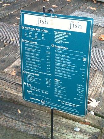 Red Fish Blue Fish : menu