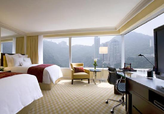 """JW Marriott Hotel Hong Kong: Premier Mountain View room features Marriott Revive bedding, 42"""" LCD TV and DVD player"""