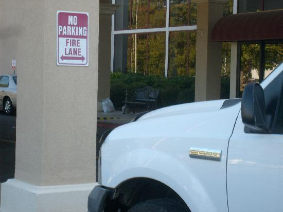 Plaza Hotel & Suites: parking pretty close to fire lane