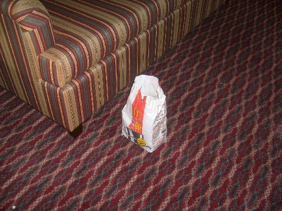 Plaza Hotel & Suites: garbage in plain view on floor