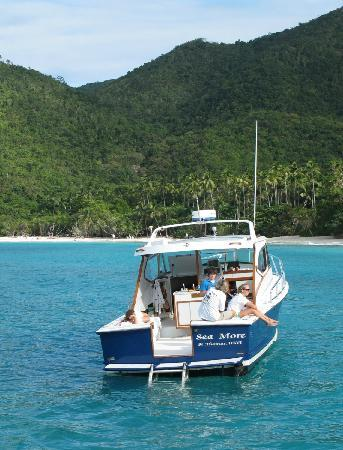 Sea More Charters - Tours: Sea More by a beautiful beach on St John