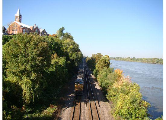 Train hauling coal next to the Missouri River in Hermann