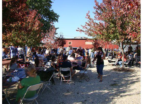Hermann, MO: Tin Mill's beer garden during Ocktoberfest 2011