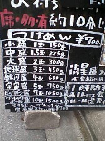Umemoto: 看板(価格表)