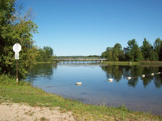 Bellaire, MI: Richardi Park view of railroad bridge