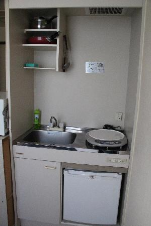Apartment Hotel Shinjuku: teeny kicthen. you can actually cook.