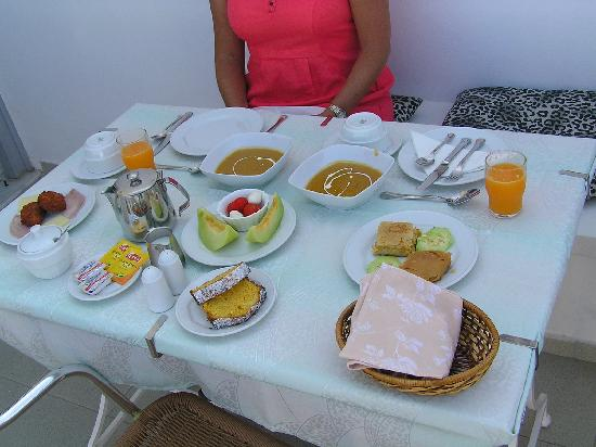 Villa Renos: One of the breakfasts. Followed by dessert - Pannacotta with cumquat marmalade sauce/ Unreal. Di