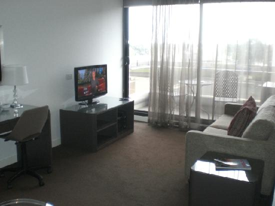 Punthill Dandenong : Living room and balcony