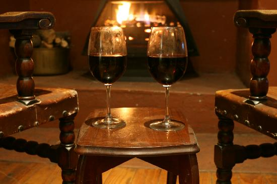 Housemartin Guest Lodge: Watching rugby by the fire place with a bottle of burgundy.