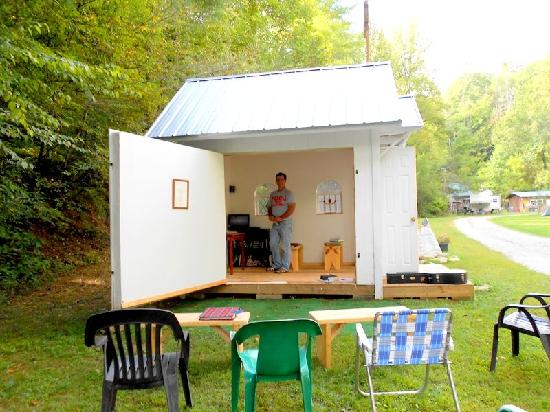 Tumbling Waters Campground: The chapel and its builder/preacher after Sunday service.