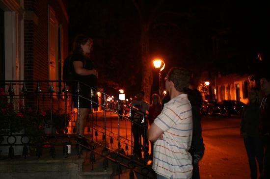 Spirits of '76 Ghost Tour of Philadelphia: My son listening to the guide at the Physick house