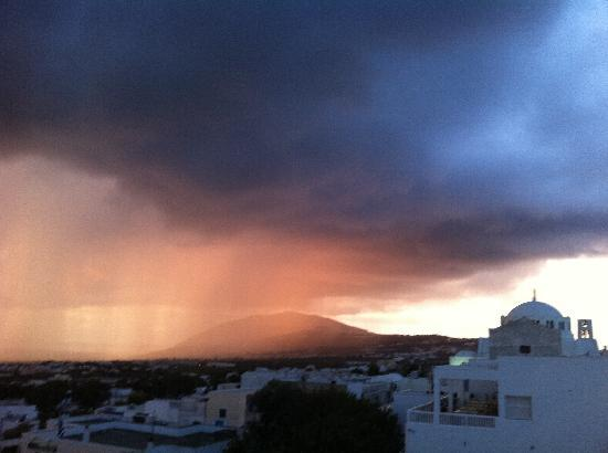 Theoxenia Boutique Hotel: stormy sunrise from the roof