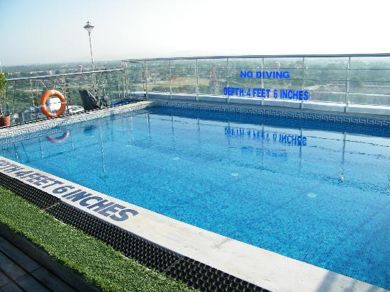 View of jaipur from room picture of sarovar portico for Rooftop swimming pool