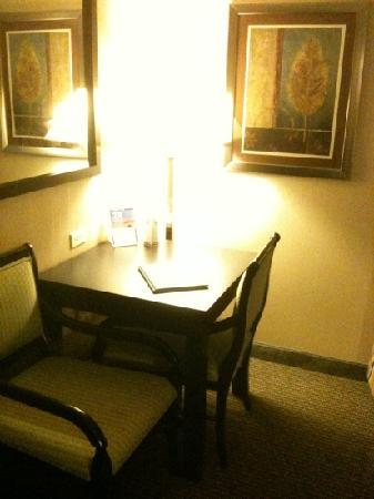 "Holiday Inn Plattsburgh: tiny ""desk"" in the corner. Not adequate for business traveler."
