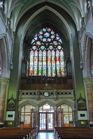 John's Lane Church: The window above then entrance is amazing from inside