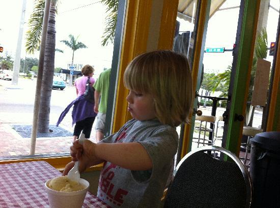 Cubby's Home Made Ice Cream : My son enjoying some cubby's ice cream