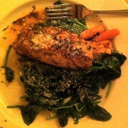 Primi Piatti : Grilled Salmon over Sauteed Spinach