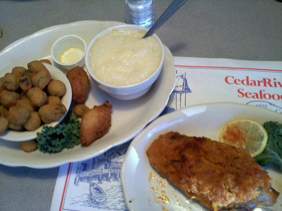 Cedar River Seafood: Red Snapper w/Seafood stuffing