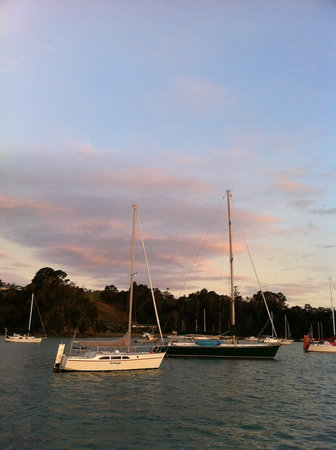 Te Vaka Day Sail: a view of the boat at dusk