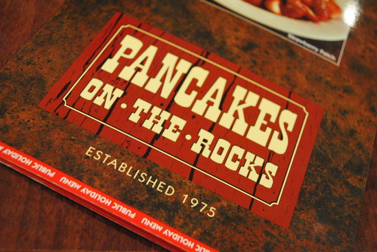 Pancakes on the Rocks : Yeah, I took a picture of the menu cover...Lol