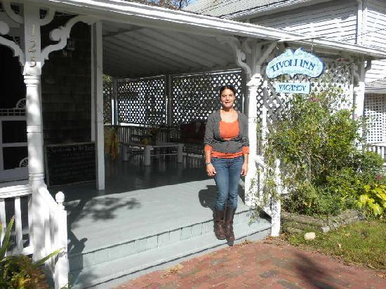 Tivoli Inn: Lisa in front of the Tivoli