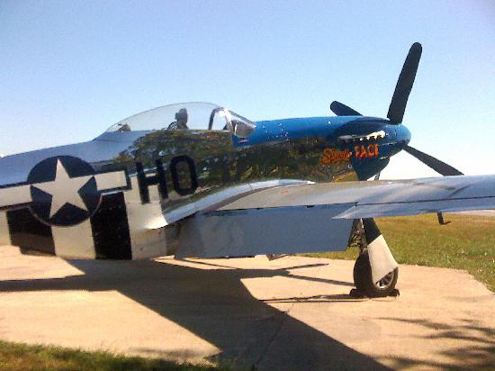 57th Fighter Group Restaurant: P-51 parked outside the restaurant