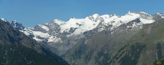 Gran Paradiso National Park, Italy: The Gran Paradiso massif, seen from above Cogne