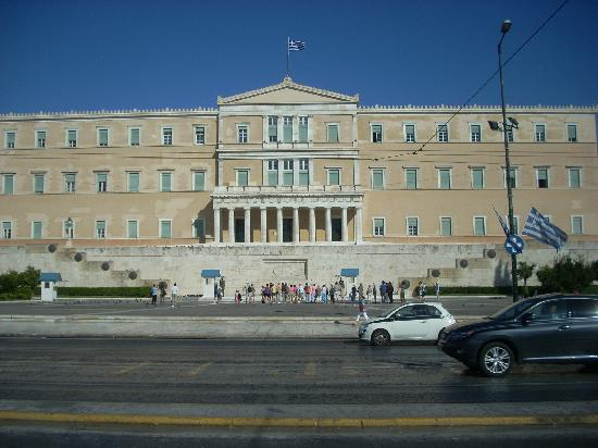 Tomb of the Unknown Soldier: The Greek Parliament Building is set at the top of Syntagma Square with the Tomb of the Unknown