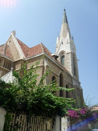 Beit Immanuel Hostel: The are was a former US and German colonies. This nice Lutheran church is opposite the hostel.