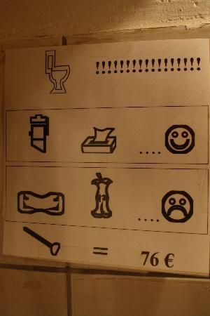 Hotel De La Buffa : Sign in the Bathroom
