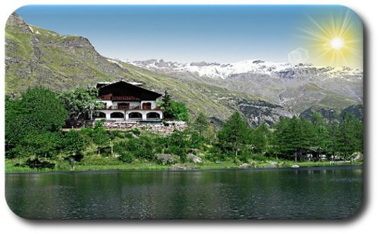 Moncenisio, Italie : Vista dello Chalet sul lago