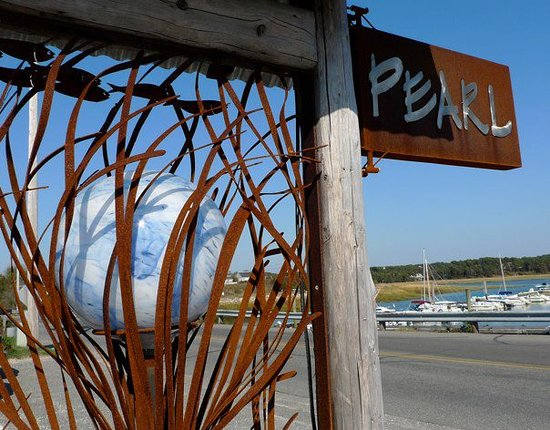 Pearl Restaurant & Bar : The Pearl's sign and view of nearby harbor