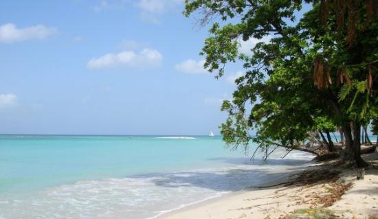 Port-Salut, Haïti : vue de la plage pieds dans l'eau