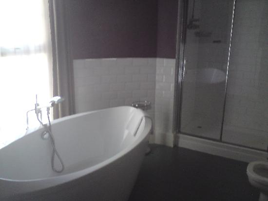Riverside Hotel: bath, and full sized double shower
