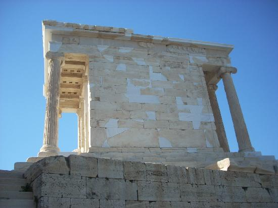 Temple of Athena Nike: Here a view from the Propylaia revealing the Ionic columns.