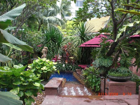 Lush foliage around the pool make you feel you are in your for Gardens around pools