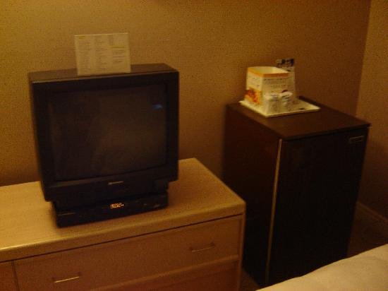 Knights Inn Barriere: TV and Fridge