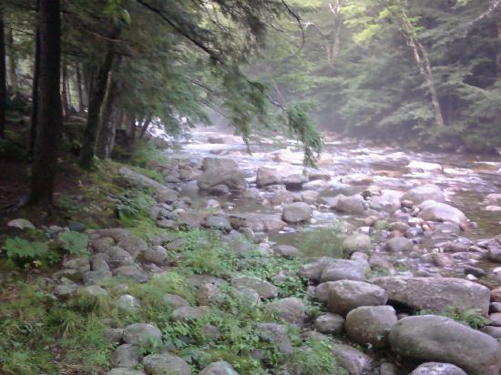 Franconia Notch Motel: the river behind the cabin