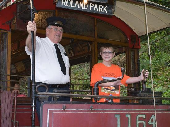 Baltimore Streetcar Museum: My son operating a car on members day!