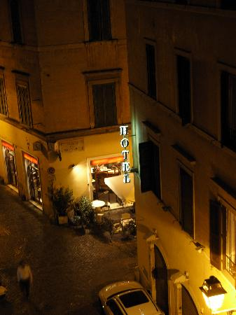 Hotel Smeraldo: view of lovely bar rossana from our room at night.
