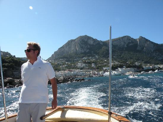 Gianni's Boat: Paulo as we leave Capri's harbor