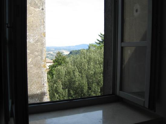 Villa Mercede: View of corner of building and countryside beyond, taken from our room