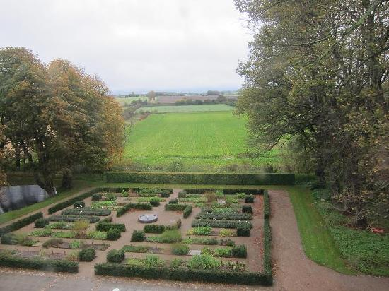 Dragsholm Castle: pretty view from room of the herb garden
