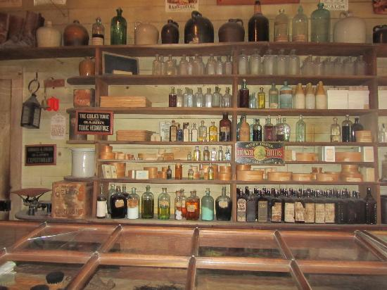 Harkin Store: Most of the original bottles from the store in 1870