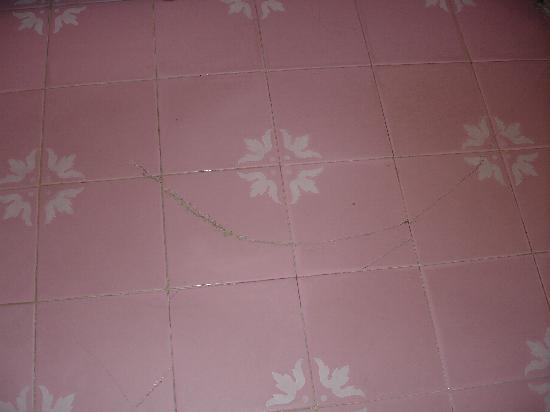 Albergo Quattro Fontana: Broken pink tiles in room !