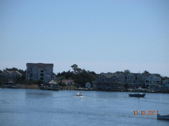 Ocracoke Harbor Inn: View of The Harbor Inn as we leave on the ferry