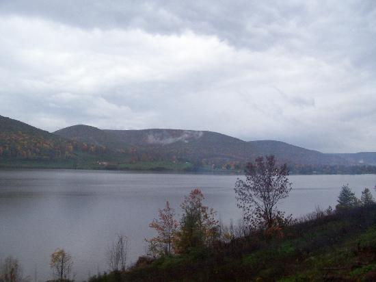 Tioga Central Railroad: View of lake from open air car