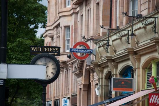 Signs point the way to Whiteleys from all over Bayswater