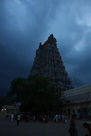 Sri Meenakshi Temple: Meenakshi temple at 6PM
