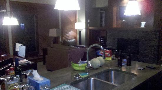 Tremblant Elysium Etoile du Matin: foyer, système de son lecteur dvd, laveuse sécheuse.. ( derrière le module de la télé se trouve